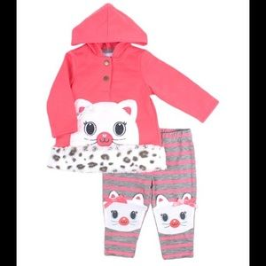 Nannette Matching Sets - Nannette Kitten Sherpa Hoodie and Stripe Leggings